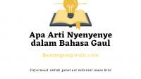Apa Arti Nyenyenye dalam Bahasa Gaul