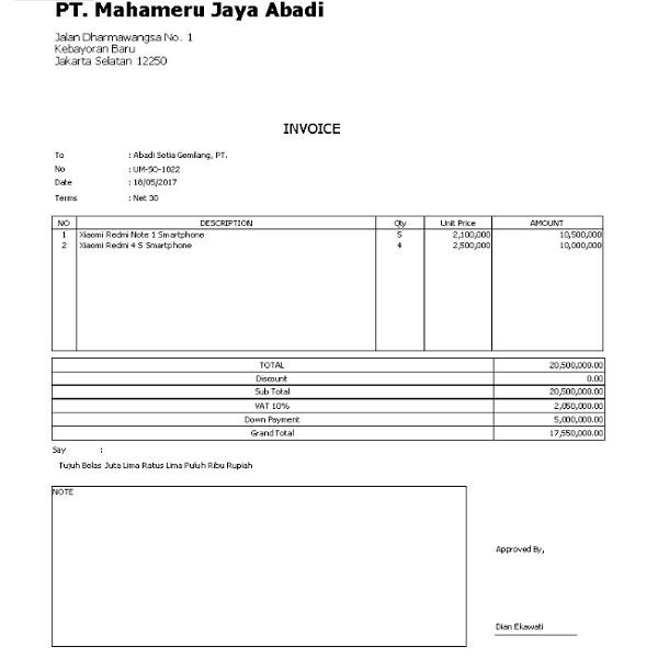 Contoh Invoice Pembayaran DP